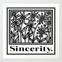 Alacano Flowers Black and White Art Print