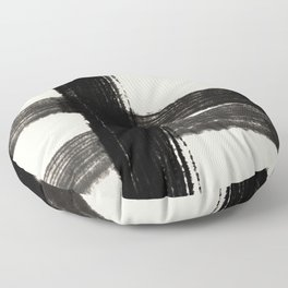 Abstract Minimalist Painted Brushstrokes in Black and Almond Cream 1 Floor Pillow
