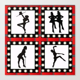 Cabaret Dance with faux marquee lights Canvas Print