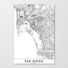 San Diego White Map Canvas Print