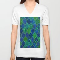 moroccan V-neck T-shirts featuring Glitter Moroccan by Saundra Myles