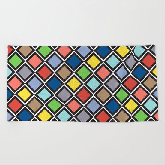 Colorful Geometric Pattern III Beach Towel
