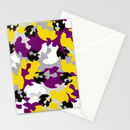 Purple and ochre camouflage Stationery Cards