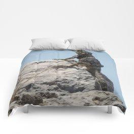 Lizard Sunbathing On A Rock Vector Comforters