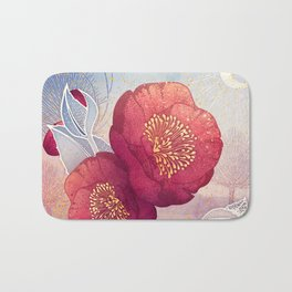 Christmas Roses :: Red Petals, Frosted Leaves Bath Mat
