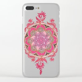 Hot Pink, Magenta and Orange Super Boho Medallions Clear iPhone Case