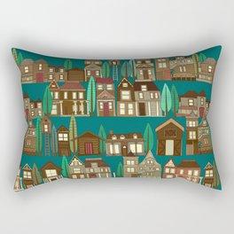 wooden buildings teal Rectangular Pillow