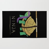 ninja turtle Area & Throw Rugs featuring ninja - purple by Louis Roskosch
