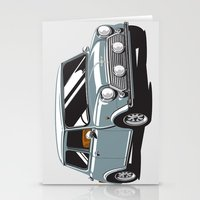 mini cooper Stationery Cards featuring Mini Cooper Car - Gray by C Barrett