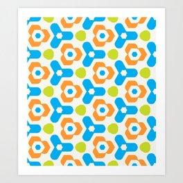 Retro Geometric Kaleidoscopic Seamless Pattern Art Print