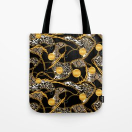 Chains-Belt and Animal Skin Tote Bag