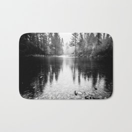 Forest Reflection Lake - Black and White  - Nature Photography Bath Mat