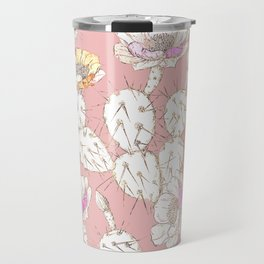 Modern white gold blush pink catus floral Travel Mug