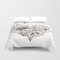 swallow Duvet Covers featuring Swallow heart by Mr Dirns