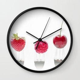 3 fruits, 3 forks Wall Clock