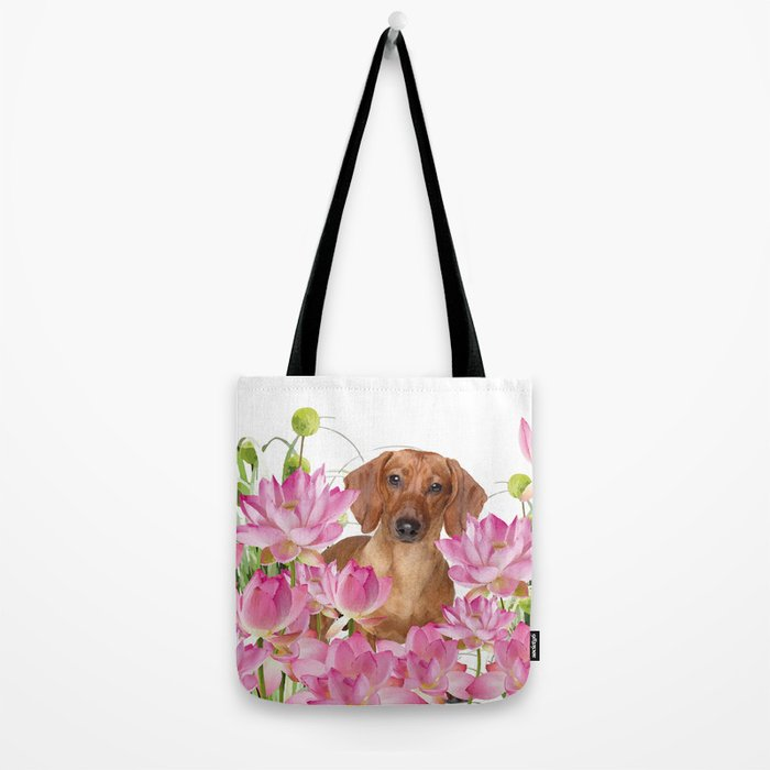 Dog in Field of Lotos Flower Tote Bag