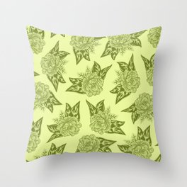 Cabbage Roses in Chartreuse Throw Pillow