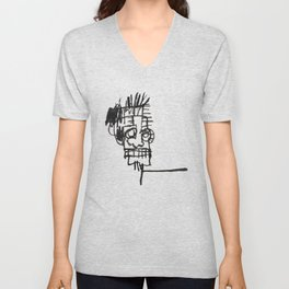 A vectorised and reworked Basquiat notebook sketch Unisex V-Neck