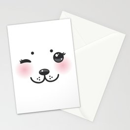 Kawaii funny albino animal white muzzle with pink cheeks and winking eyes Stationery Cards