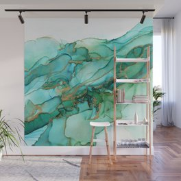 Emerald Gold Waves Abstract Ink Wall Mural