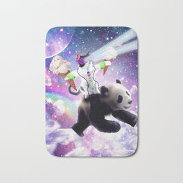 Lazer Rave Space Cat Riding Panda Eating Ice Cream Bath Mat