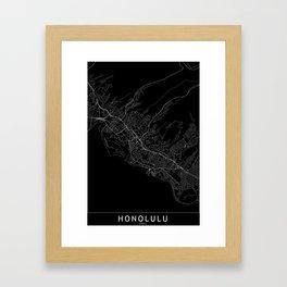 Honolulu Black Map Framed Art Print