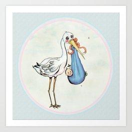 Miss Stork's Surprise: It's a Baby Art Print