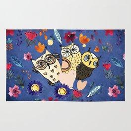 3 Wise Owls in Flower Garden at Night Rug