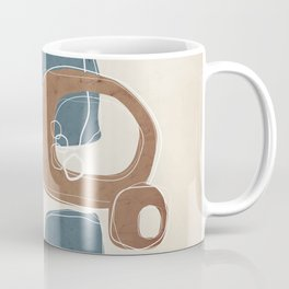 Retro Abstract Design in Cinnamon and Teal Coffee Mug