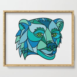 Grizzly Bear Head Mosaic Serving Tray