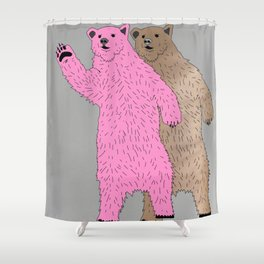 Great Bears Wave To Their Neighbors Shower Curtain