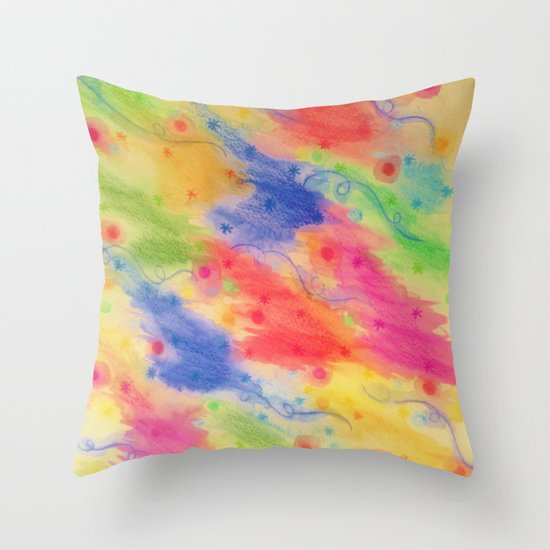 SEEING STARS 2 - Yellow Rainbow Pretty Starry Sky Abstract Watercolor Painting Feminine Pattern Throw Pillow