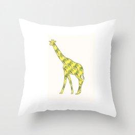 Giraffe Palm Tree Throw Pillow