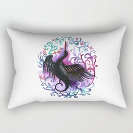 Watercolor hand painted silhouette of a black stork in a flower frame in violet colors Rectangular Pillow