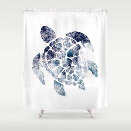 Sea Turtle - Blue Ocean Waves Shower Curtain