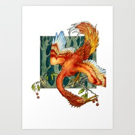 Firebird with Cherries Art Print