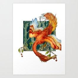 Firebird with Cherries Art Print