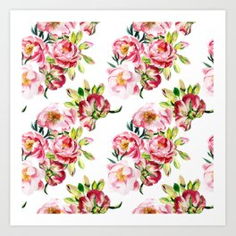 Watercolor pattern with peony flowers Art Print