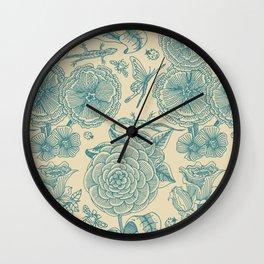 Garden Bliss - in teal & cream Wall Clock