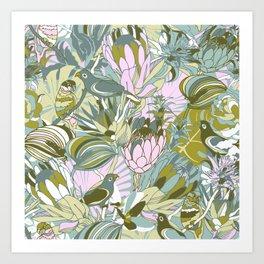 Tropical paradise   Grayish Turquoise Art Print