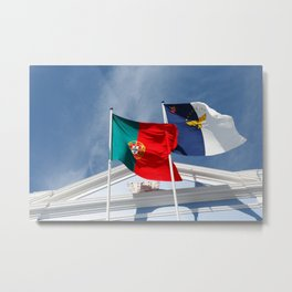 Portugal and Azores flags Metal Print