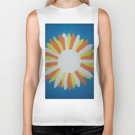 White Sunflower Biker Tank