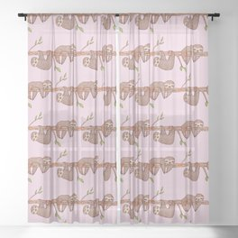 Lazy Baby Sloth Pattern in Pink Sheer Curtain