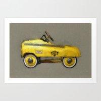 yowamushi pedal Art Prints featuring Yellow Taxi Pedal Car by Michelle L. Calkins