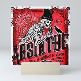 Vintage 1871 Red Absinthe Liquor Skeleton Elixir Aperitif Cocktail Alcohol Advertisement Poster Mini Art Print