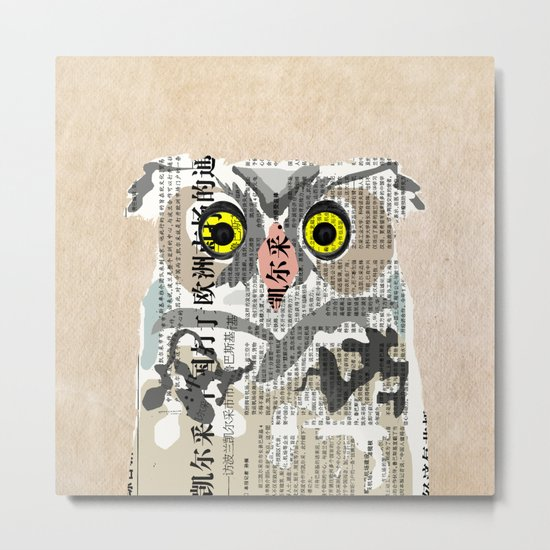 Owl Newspaper Collage Metal Print