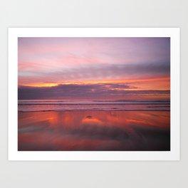 PURPLE AND ROSE GOLD SUNSET SANDYMOUTH BEACH CORNWALL Art Print