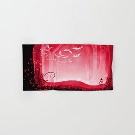 Dark Forest at Dawn in Ruby Hand & Bath Towel