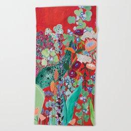 Red floral Jungle Garden Botanical featuring Proteas, Reeds, Eucalyptus, Ferns and Birds of Paradise Beach Towel