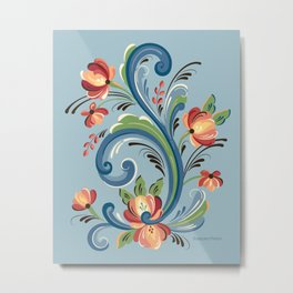 Rosemaling Blue and Red Metal Print